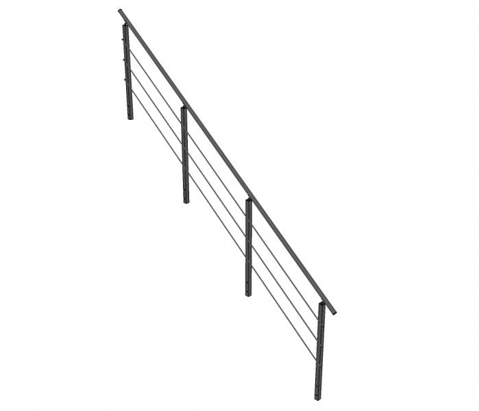 Trapleuning TURTO - aluminium - staven